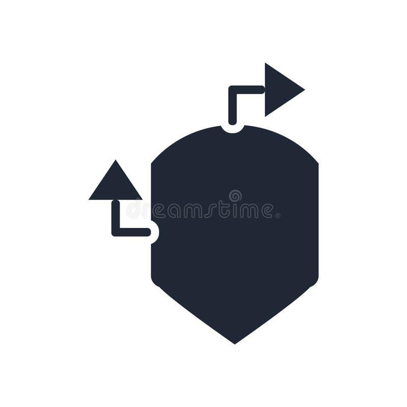 Het pictogram vectordieteken en symbool van de verzekeringsbescherming op whi wordt geïsoleerd stock illustratie