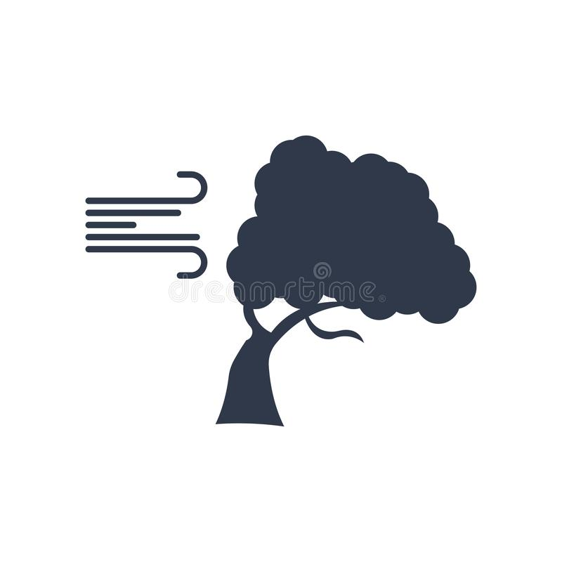 Het pictogram vectordieteken en symbool van de wind buigend Boom op wit wordt geïsoleerd stock illustratie