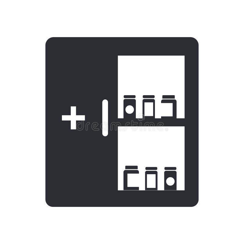 Het pictogram vectordieteken en symbool van het geneeskundekabinet op witte achtergrond, het embleemconcept wordt geïsoleerd van  stock illustratie