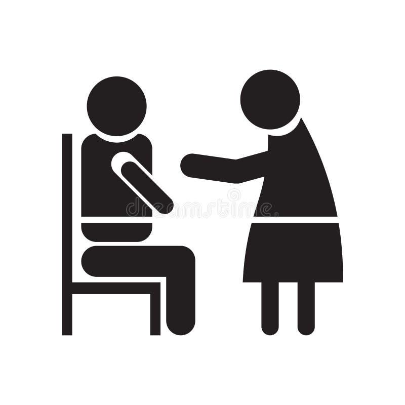 Het pictogram vectordieteken en symbool van het oftalmoloogonderzoek op witte achtergrond, het embleemconcept wordt geïsoleerd va royalty-vrije illustratie