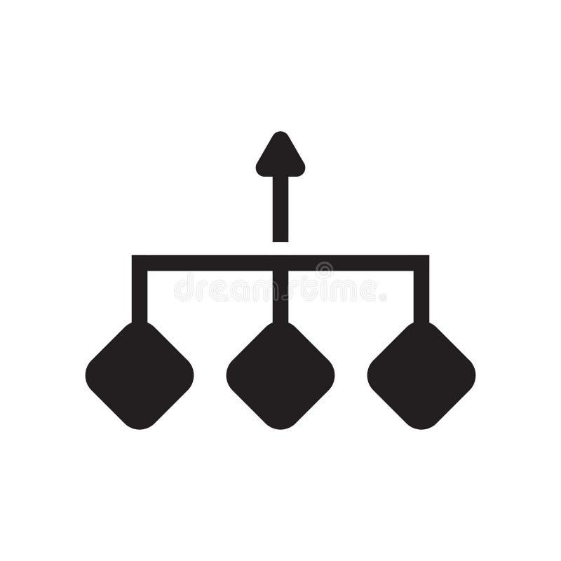 Het pictogram vectordieteken en symbool van puntverbindingen op witte B wordt geïsoleerd royalty-vrije illustratie