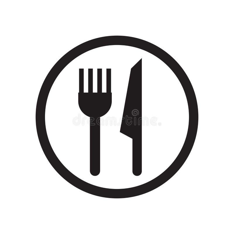 Het pictogram vectordieteken en symbool van het restaurantteken op witte achtergrond, het embleemconcept wordt geïsoleerd van het royalty-vrije illustratie