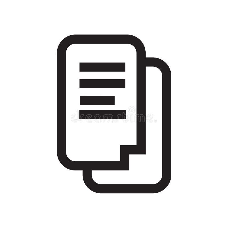 Het pictogram vectordieteken en symbool van tekstdocumenten op witte bac wordt geïsoleerd vector illustratie
