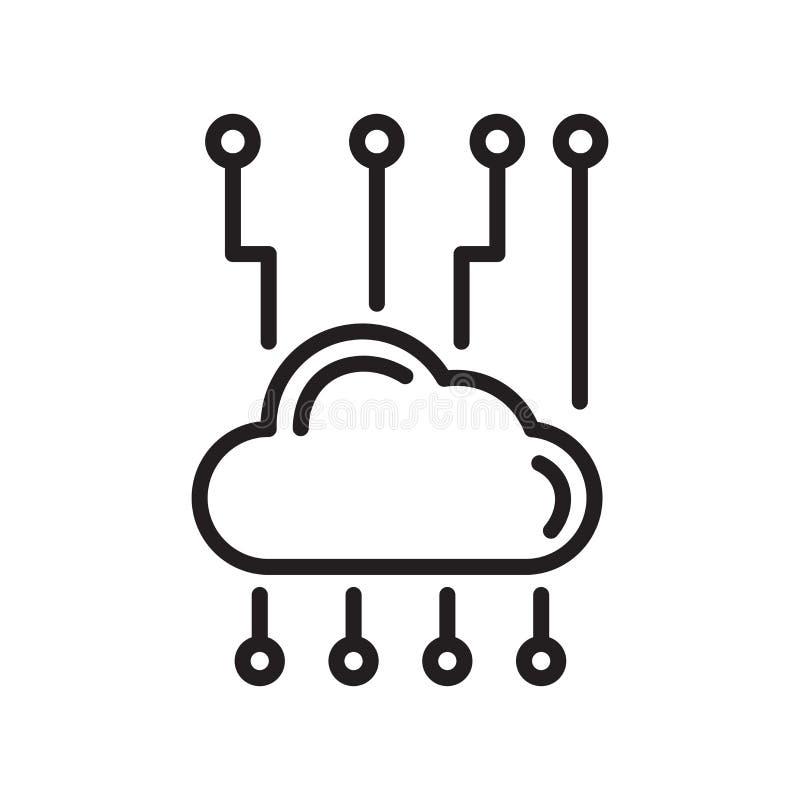 Het pictogram vectordieteken en symbool van het wolkennetwerk op witte rug wordt geïsoleerd vector illustratie