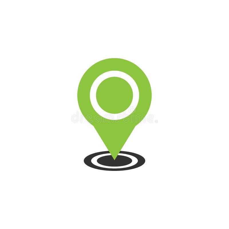 Het pictogram vectorillustratie van de kaartwijzer GPS-plaatssymbool met met speldwijzer voor grafisch ontwerp vector illustratie
