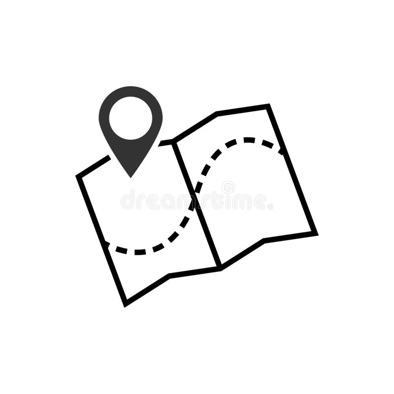 Het pictogram vectorillustratie van de kaartwijzer GPS-plaatssymbool met met speldwijzer voor grafisch ontwerp, embleem, website, stock illustratie