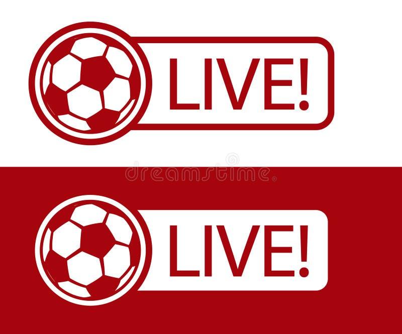 Het pictogram vectorillustratie van de voetbalwedstrijd LEVENDE uitzending stock illustratie