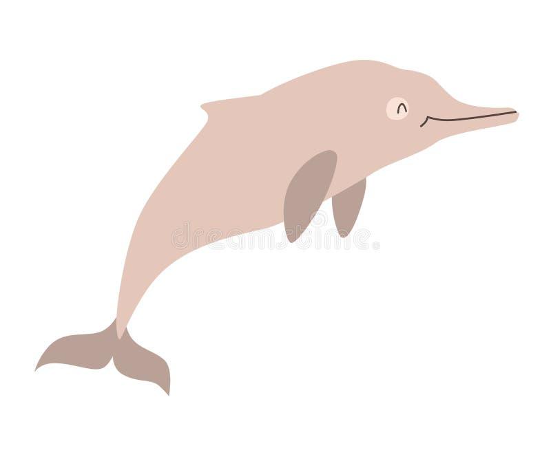 Het pictogram vectorillustratie van de zinkwitdolfijn stock illustratie