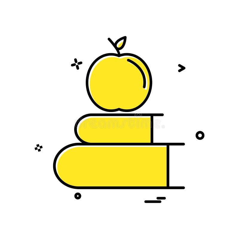 het pictogram vectorontwerp van de boekenappel royalty-vrije illustratie