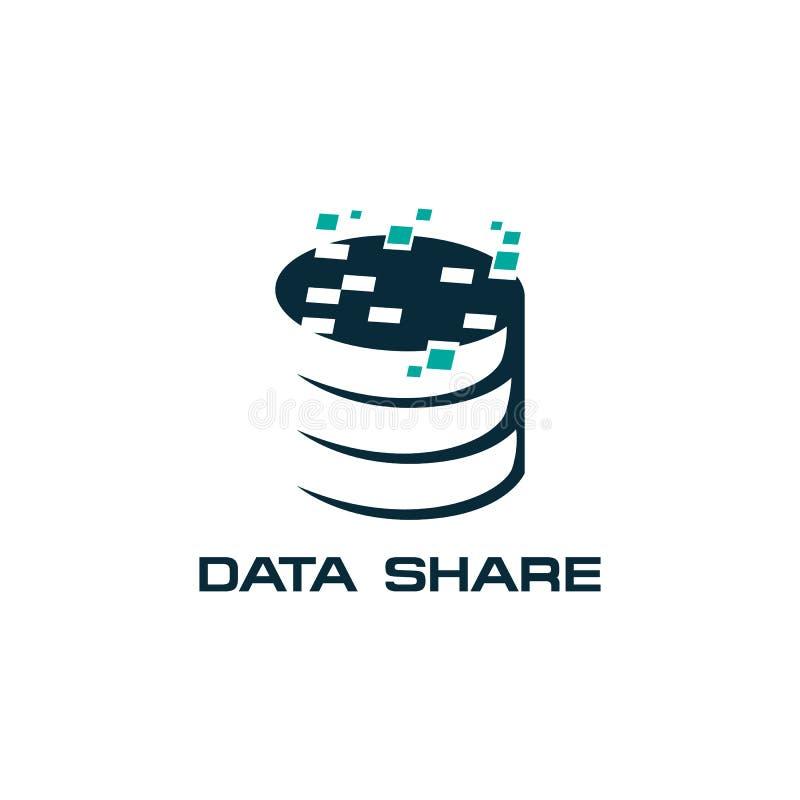 Het pictogram vectorpictogram van de aandeeldatabase op witte achtergrond stock illustratie