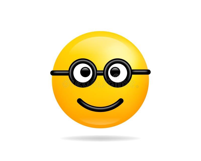 Het pictogram vectorsymbool van de Emojiglimlach Geel het beeldverhaalkarakter van het Nerdlachebekje stock illustratie