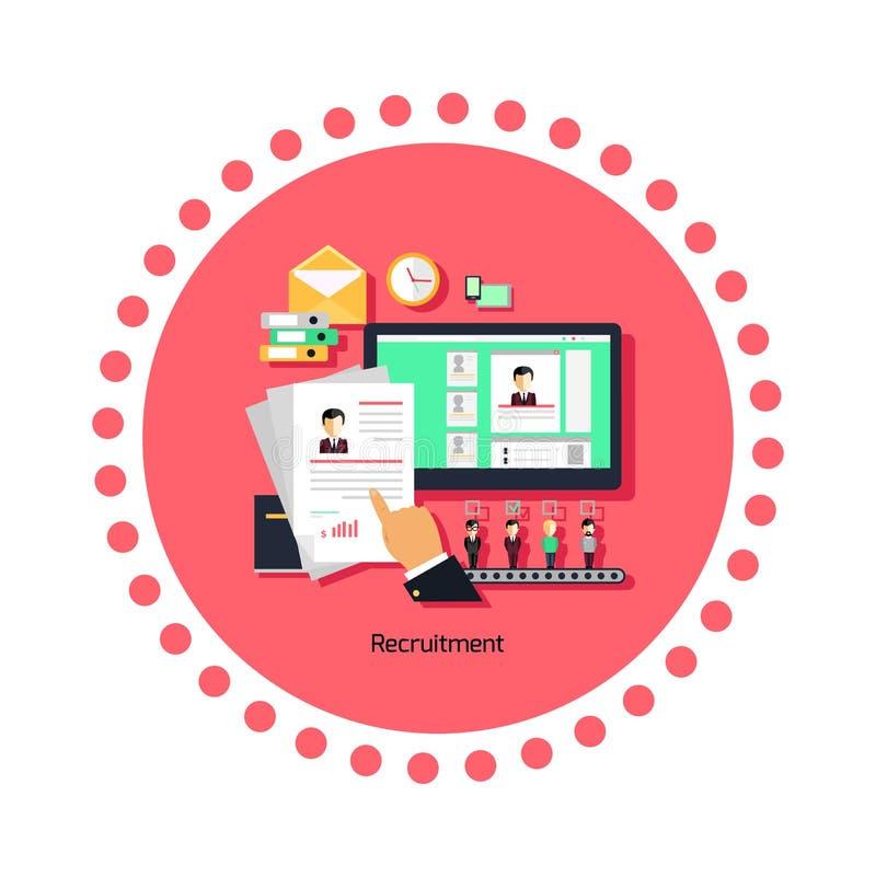 Het Pictogram Vlak Ontwerp van het rekruteringsconcept vector illustratie