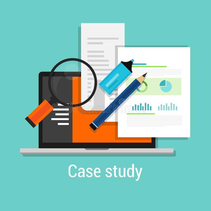 Het pictogram vlakke laptop van gevallenanalysestudies meer magnifier stock illustratie