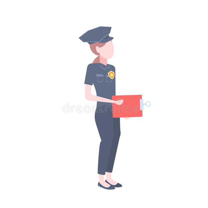 Het pictogram vrouwelijke cop van de politievrouw van het het klembordbeeldverhaal van de veiligheidsagentholding vlak geïsoleerd vector illustratie
