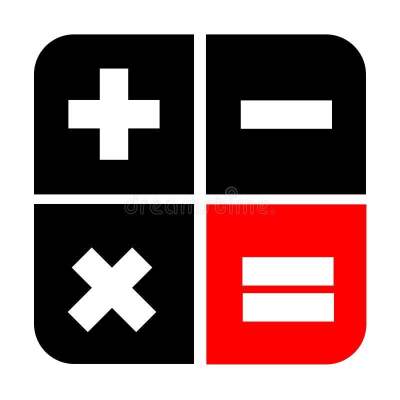 Het pictogram zwarte en rode stijl van het calculator vlakke ontwerp vector illustratie