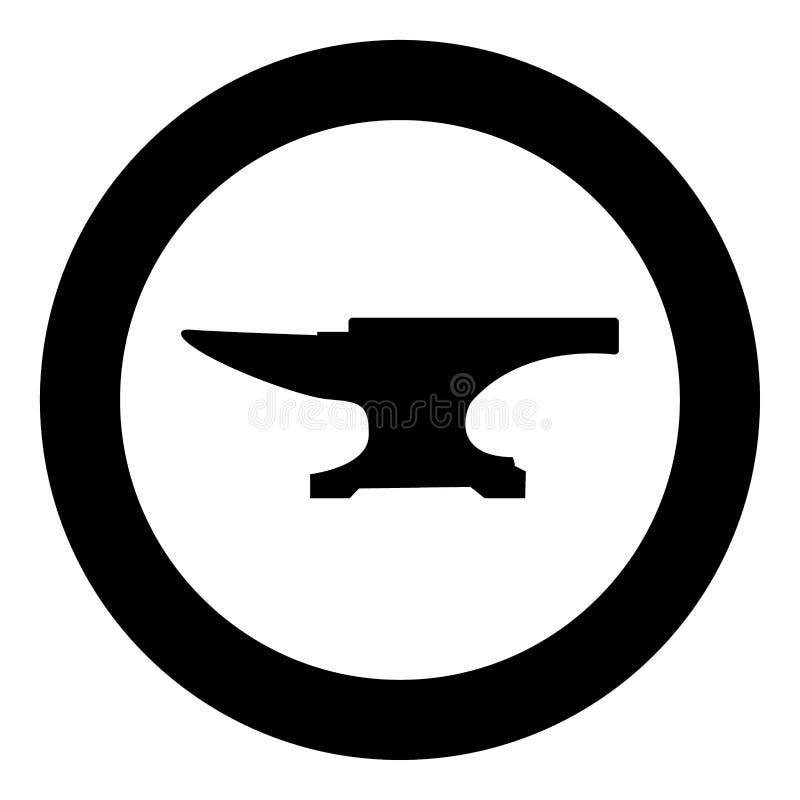 Het pictogram zwarte kleur van het aambeeldblok in cirkel vector illustratie