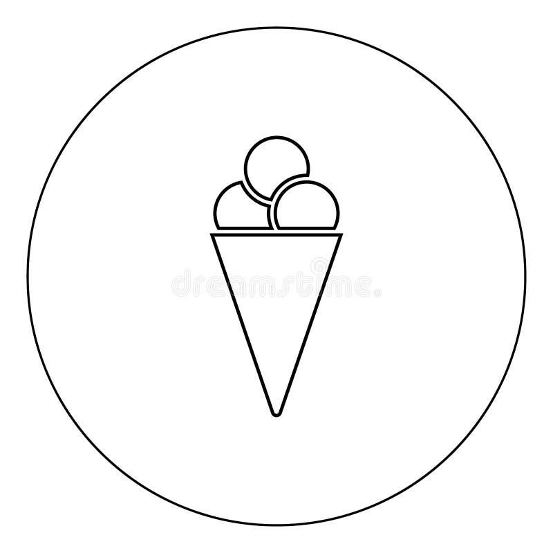 Het pictogram zwarte kleur van de roomijskegel in cirkel stock illustratie
