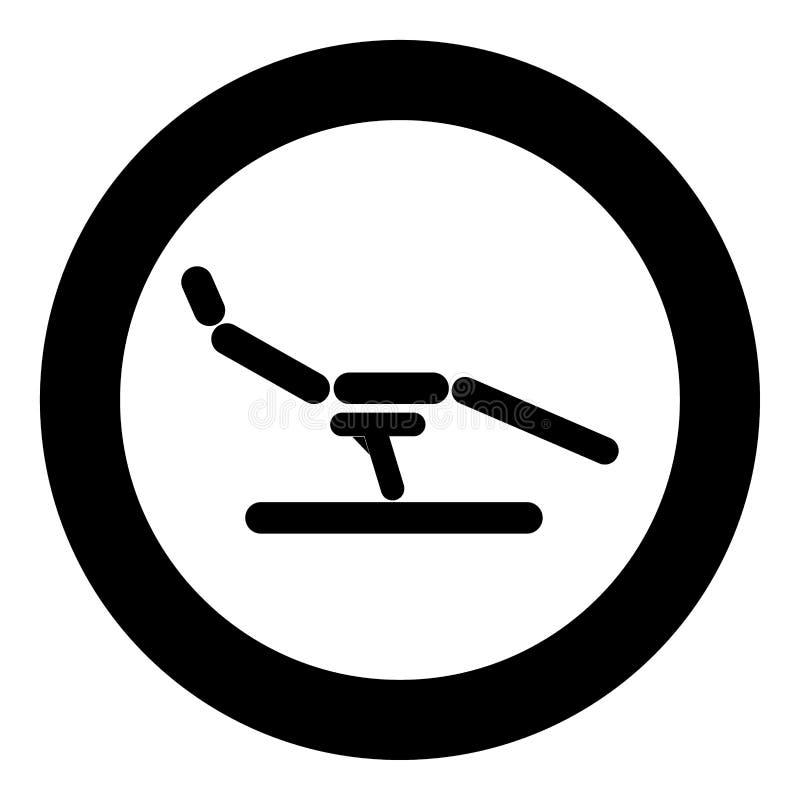 Het pictogram zwarte kleur van de tandartsstoel in cirkel of ronde royalty-vrije illustratie
