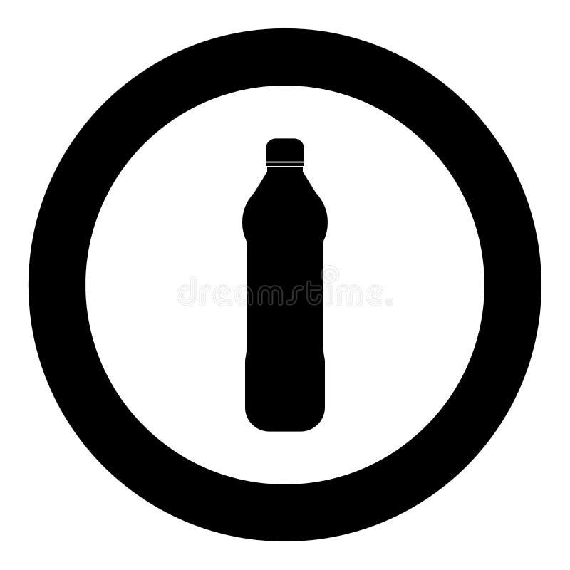 Het pictogram zwarte kleur van de water plastic fles in cirkel of ronde vector illustratie