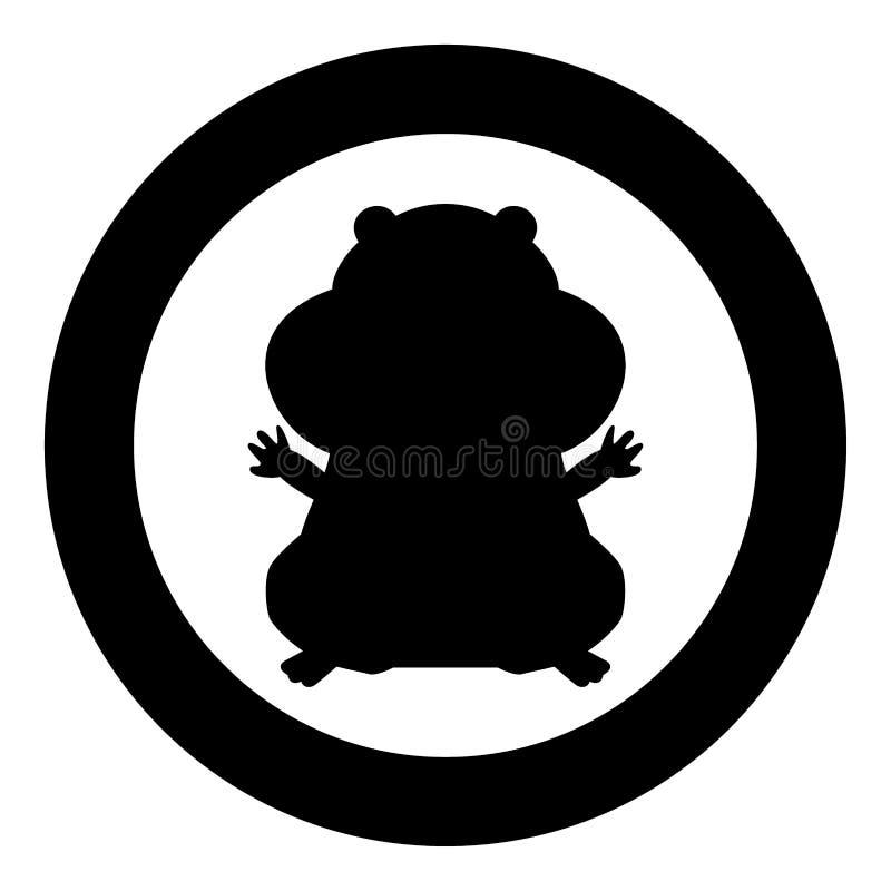 Het pictogram zwarte kleur van het hamstersilhouet in cirkel vector illustratie