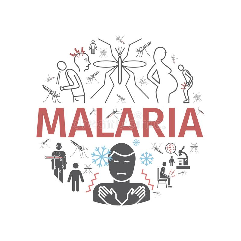 Het pictogrambanner van de malarialijn Infographics Symptomen, Vectortekens voor Webgrafiek vector illustratie