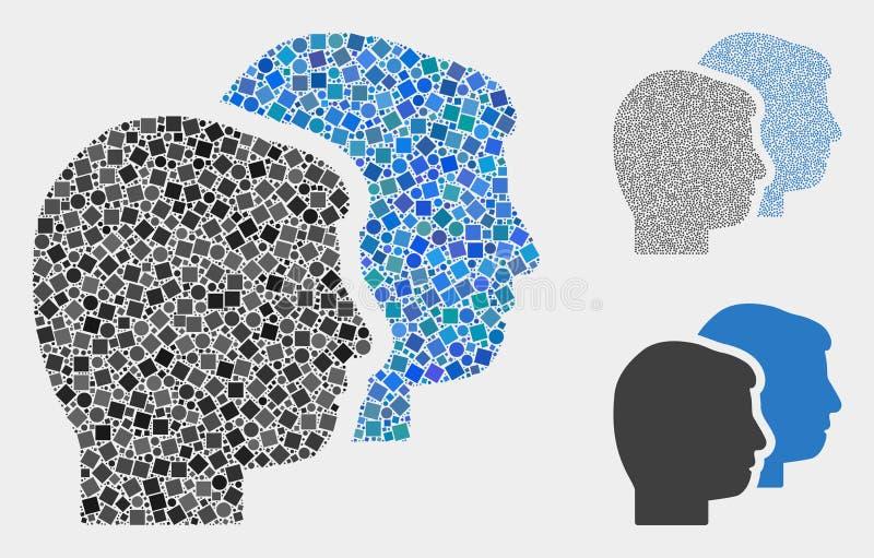 Het Pictogramcollagen van gebruikersprofielen van Vierkanten en Cirkels vector illustratie