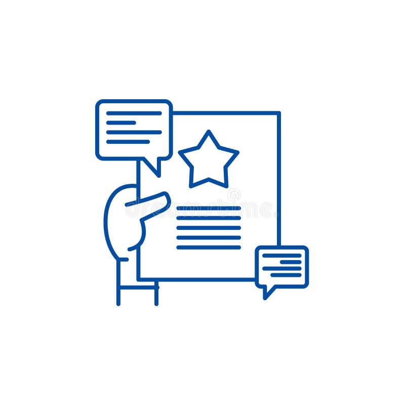 Het pictogramconcept van de aanbevelingenlijn Aanbevelingen vlak vectorsymbool, teken, overzichtsillustratie royalty-vrije illustratie