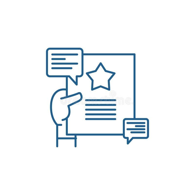 Het pictogramconcept van de aanbevelingenlijn Aanbevelingen vlak vectorsymbool, teken, overzichtsillustratie stock illustratie