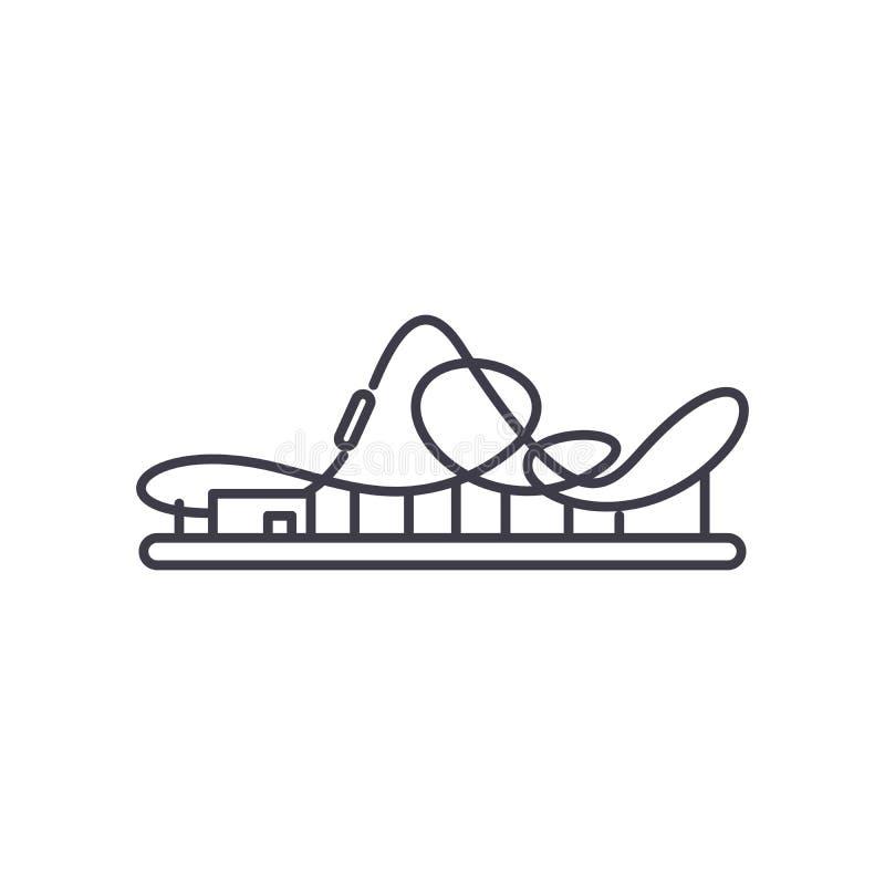 Het pictogramconcept van de achtbaanlijn Achtbaan vector lineaire illustratie, symbool, teken royalty-vrije illustratie