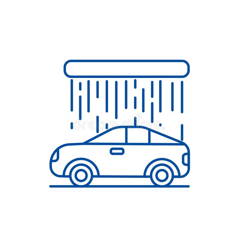 Het pictogramconcept van de autowasserettelijn Autowasserette vlak vectorsymbool, teken, overzichtsillustratie vector illustratie