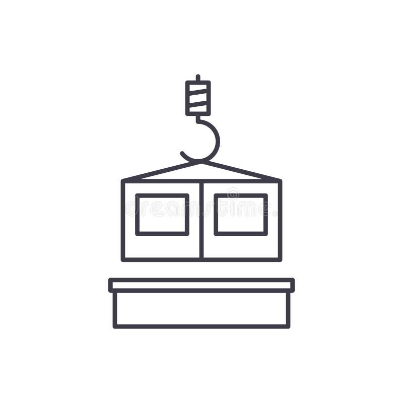 Het pictogramconcept van de bouwtechnologielijn Bouwtechnologie vector lineaire illustratie, symbool, teken royalty-vrije illustratie