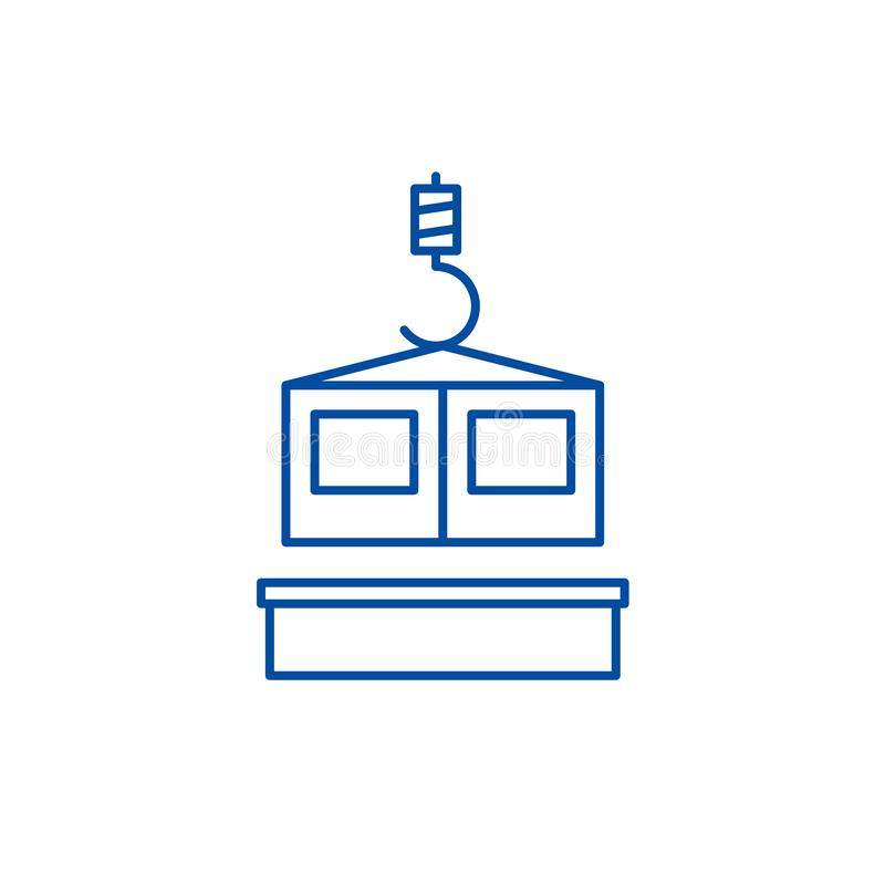 Het pictogramconcept van de bouwtechnologielijn Bouwtechnologie vlak vectorsymbool, teken, overzichtsillustratie stock illustratie