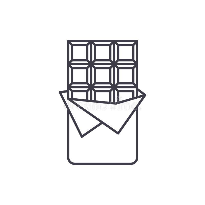 Het pictogramconcept van de chocoladereeplijn Chocoladereep vector lineaire illustratie, symbool, teken stock illustratie