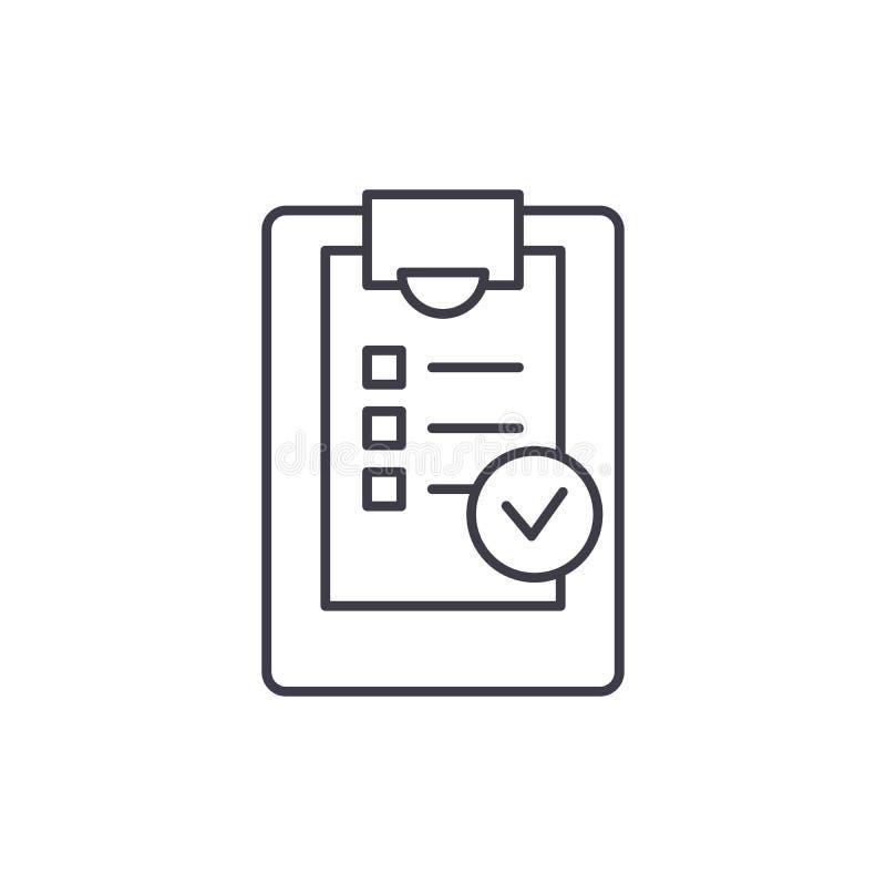 Het pictogramconcept van de controlelijstlijn Controlelijst vector lineaire illustratie, symbool, teken royalty-vrije illustratie