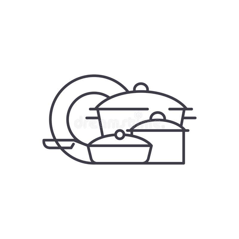 Het pictogramconcept van de Cookwarelijn Cookware vector lineaire illustratie, symbool, teken vector illustratie