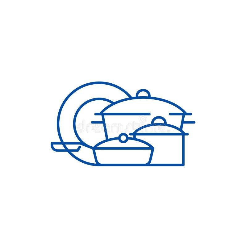 Het pictogramconcept van de Cookwarelijn Cookware vlak vectorsymbool, teken, overzichtsillustratie vector illustratie