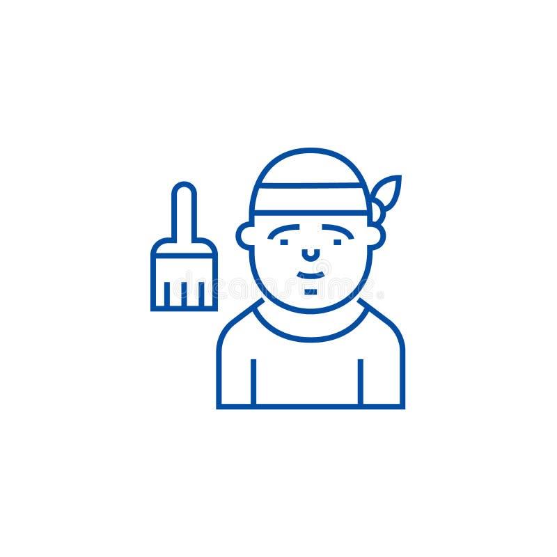 Het pictogramconcept van de decorateurlijn Decorateur vlak vectorsymbool, teken, overzichtsillustratie stock illustratie
