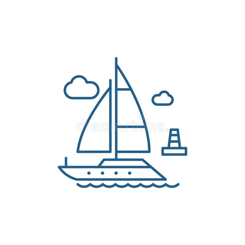 Het pictogramconcept van de jachtlijn Jacht vlak vectorsymbool, teken, overzichtsillustratie royalty-vrije illustratie