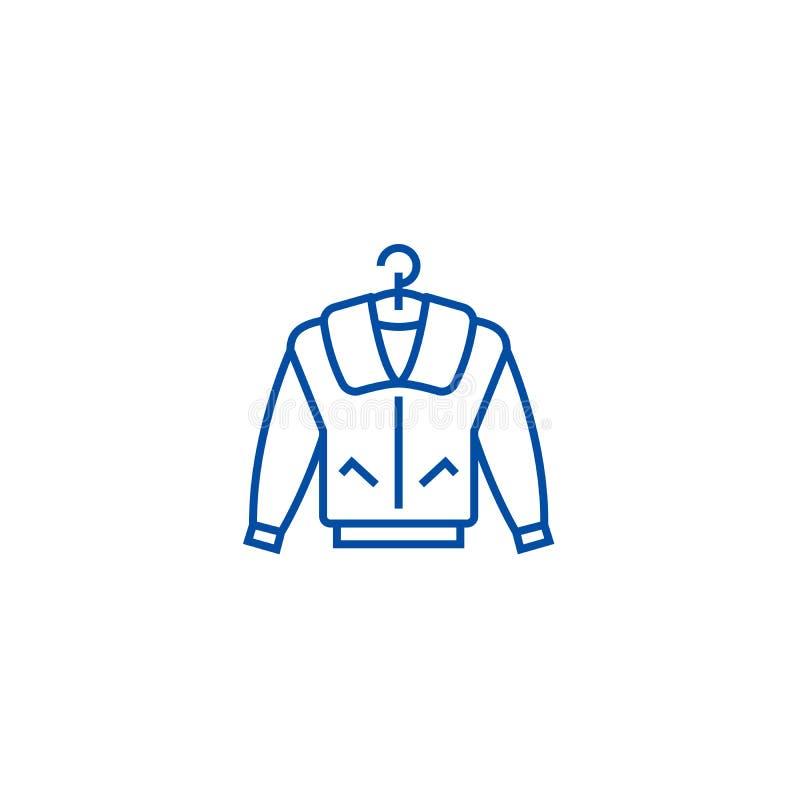Het pictogramconcept van de jasjelijn Jasje vlak vectorsymbool, teken, overzichtsillustratie stock illustratie