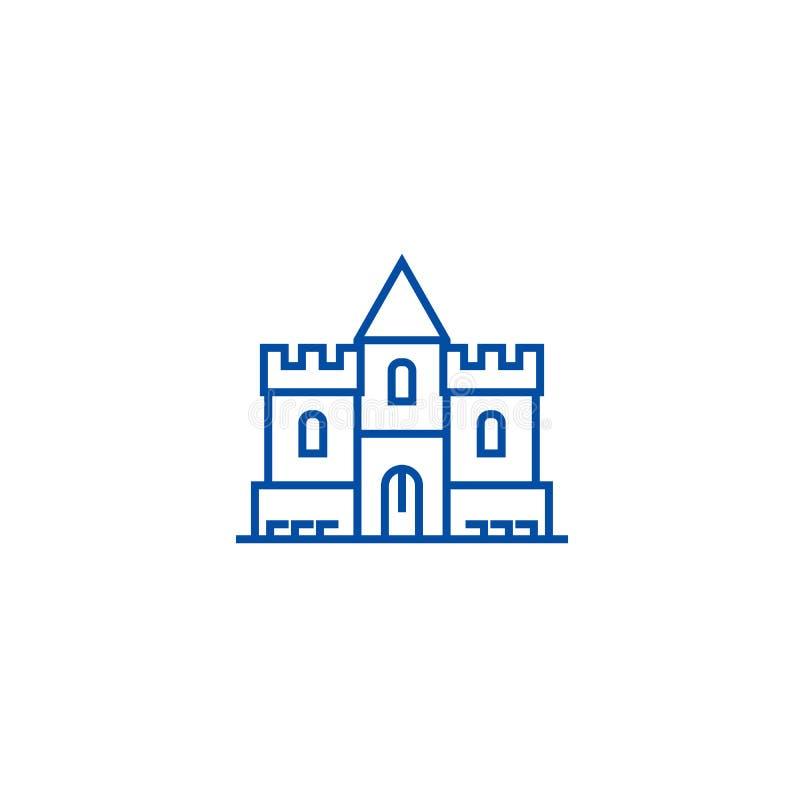Het pictogramconcept van de kasteellijn Kasteel vlak vectorsymbool, teken, overzichtsillustratie vector illustratie