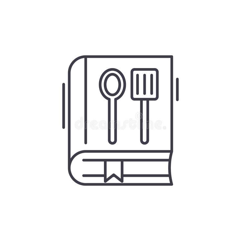 Het pictogramconcept van de kookboeklijn Kookboek vector lineaire illustratie, symbool, teken vector illustratie