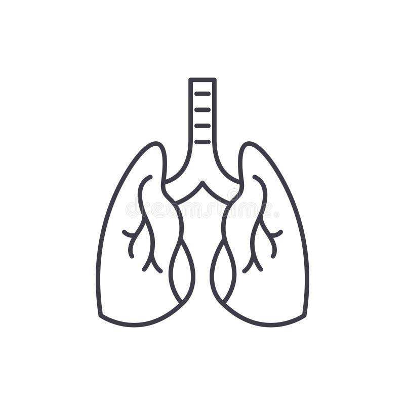 Het pictogramconcept van de longenlijn Longen vector lineaire illustratie, symbool, teken royalty-vrije illustratie