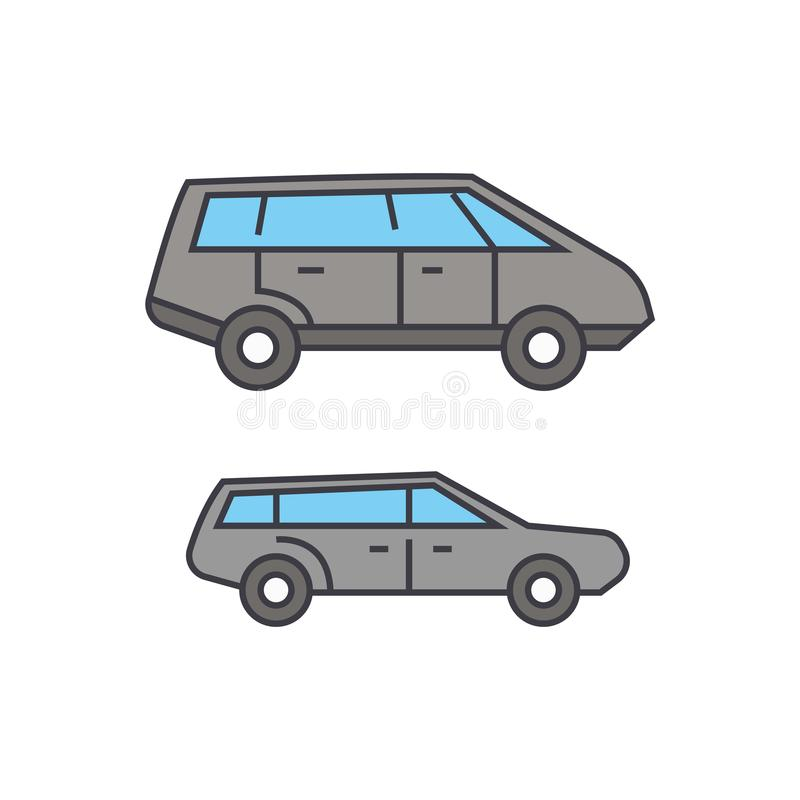 Het pictogramconcept van de Minivanlijn Minivan vlak vectorteken, symbool, illustratie stock illustratie