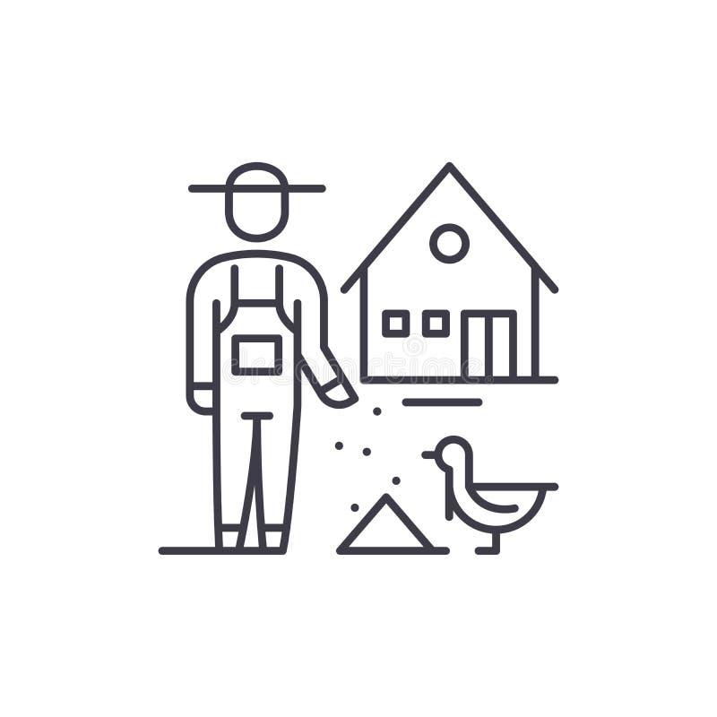 Het pictogramconcept van de pluimveehouderijlijn Pluimveehouderij vector lineaire illustratie, symbool, teken stock illustratie