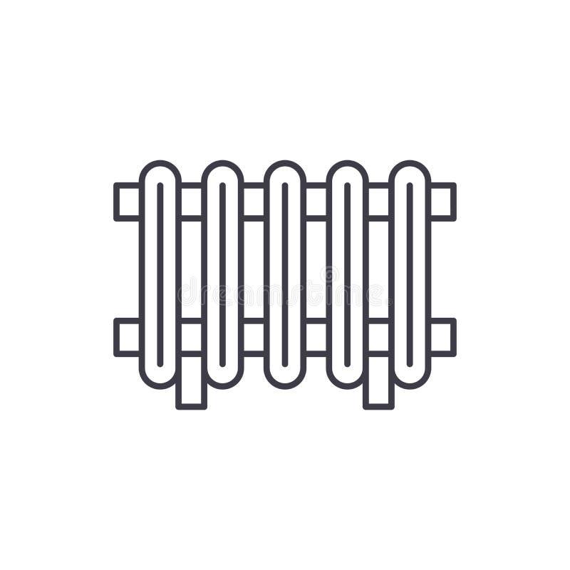Het pictogramconcept van de radiatorlijn Radiator vector lineaire illustratie, symbool, teken royalty-vrije illustratie
