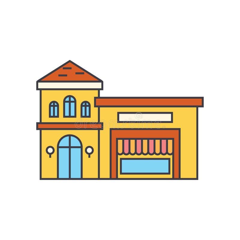 Het pictogramconcept van de restaurantrooilijn Restaurant die vlak vectorteken, symbool, illustratie bouwen stock illustratie