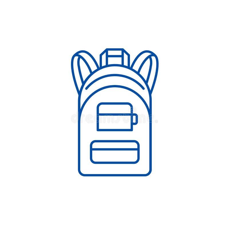 Het pictogramconcept van de rugzaklijn Rugzak vlak vectorsymbool, teken, overzichtsillustratie royalty-vrije illustratie