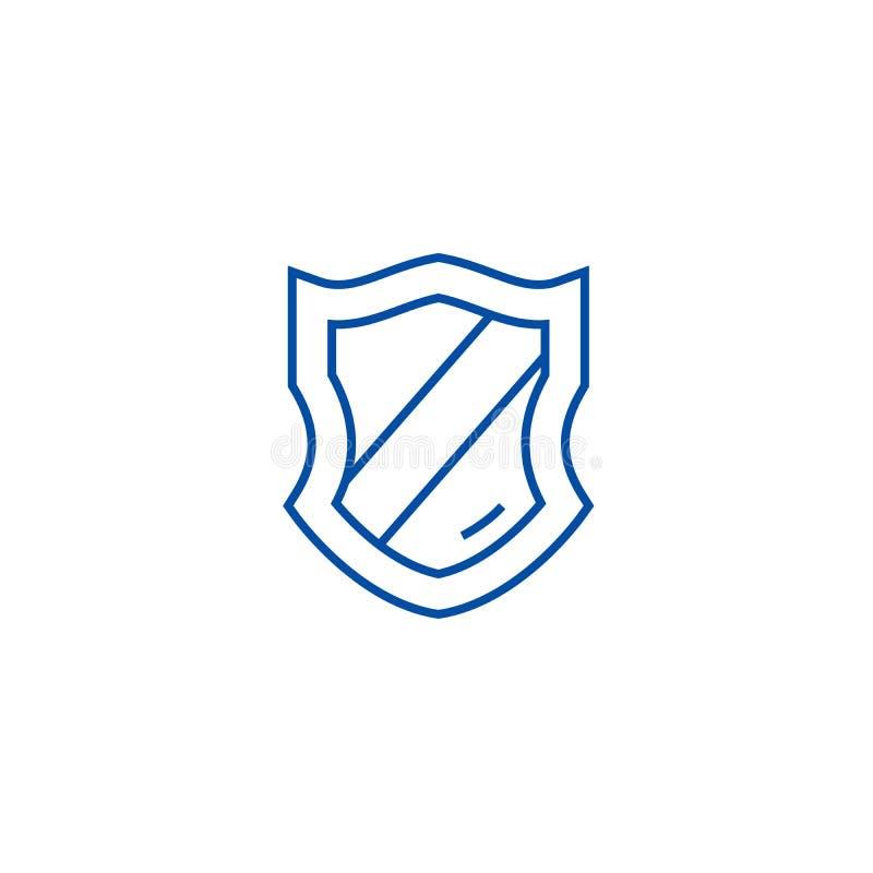 Het pictogramconcept van de Schieldlijn Schield vlak vectorsymbool, teken, overzichtsillustratie stock illustratie