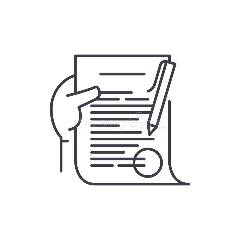 Het pictogramconcept van de verplichtingslijn Verplichtings vector lineaire illustratie, symbool, teken stock illustratie