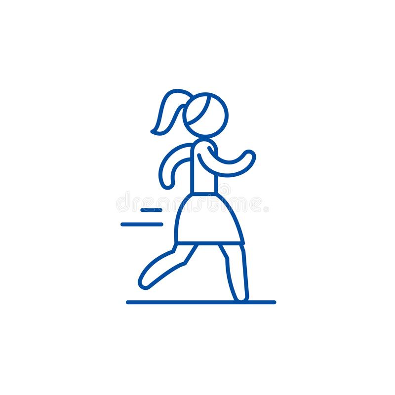 Het pictogramconcept van de vrouwen lopend lijn Vrouw die vlak vectorsymbool, teken, overzichtsillustratie in werking stellen vector illustratie